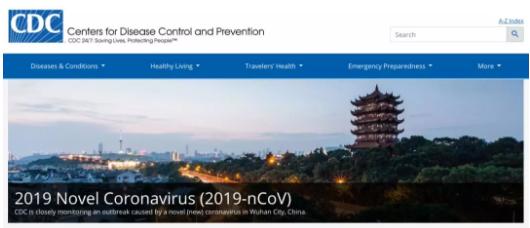 新型冠状病毒肺炎已经上了CDC网站的封面